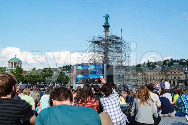 STUTTGART, GERMANY - APRIL 24, 2014: People are enjoying the open air cinema in the city center of Stuttgart on ...