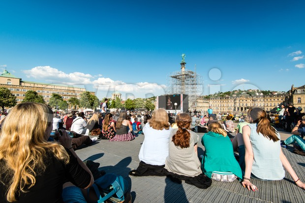 STUTTGART, GERMANY - APRIL 24, 2014: People are enjoying the open air cinema in the city center of Stuttgart on ...