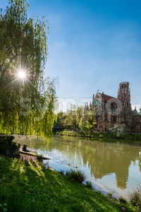 Saint Johns protestant church over the Fire lake in Stuttgart, Germany Stock Photo