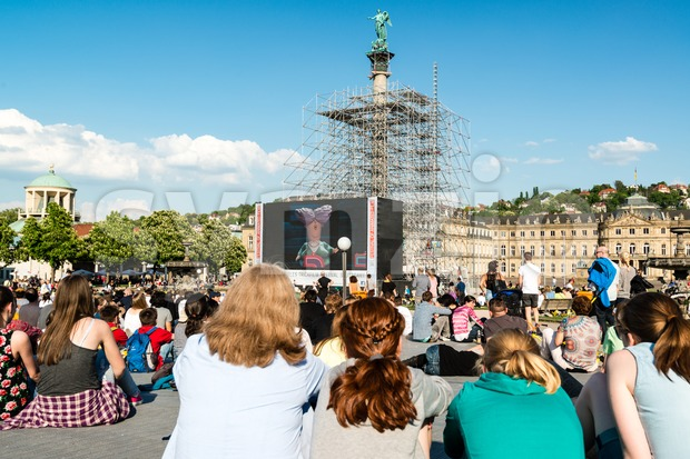 People enjoying open air cinema in the city center of Stuttgart (Germany) Stock Photo