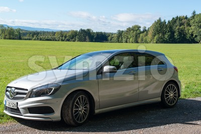 Mercedes Benz A-Class test drive Stock Photo