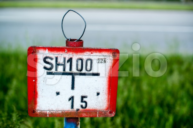 german vintage hydrant sign Stock Photo