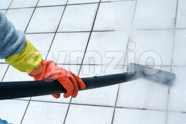 Woman using steam cleaner Stock Photo