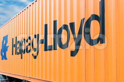 Hapag Lloyd container on a trailer Stock Photo