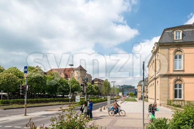 The city center of Stuttgart with the old (left) and new castle (right) and the new art museum in the middle Stock Photo