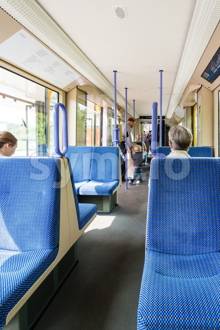 Seats in a tram in Germany Stock Photo