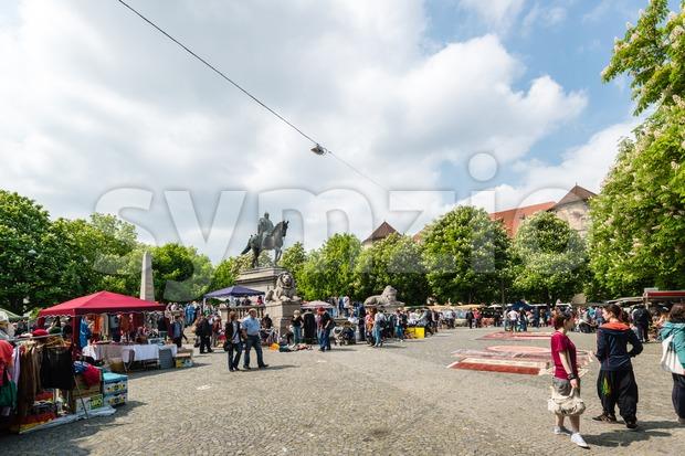 Visitors of the famous Stuttgart flea market Stock Photo
