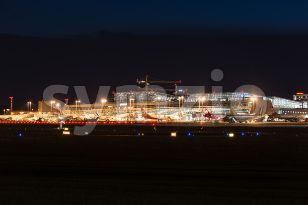 Airport Terminal of Stuttgart (Germany) at dusk Stock Photo