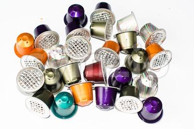 Used coffe capsules Stock Photo