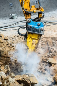 excavator with chisel Stock Photo