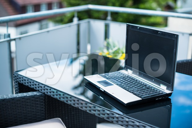 Home office on the terrace Stock Photo