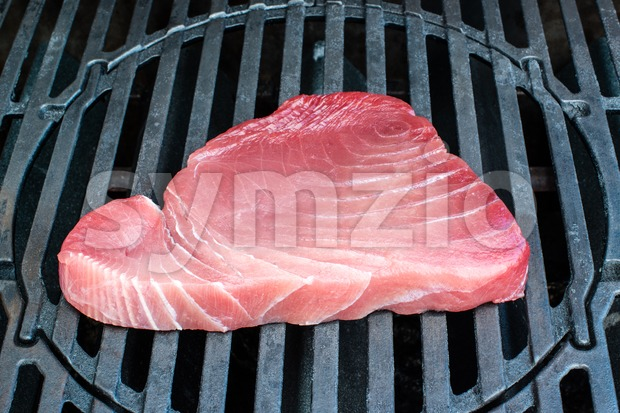 tuna steak on bbq Stock Photo