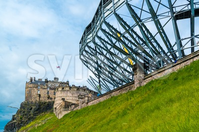 Edinburgh Castle getting ready for the military tattoo Stock Photo