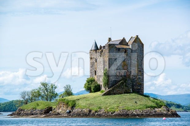 Medieval Stalker Castle on small island in loch linnhe argyll in the scottish highlands