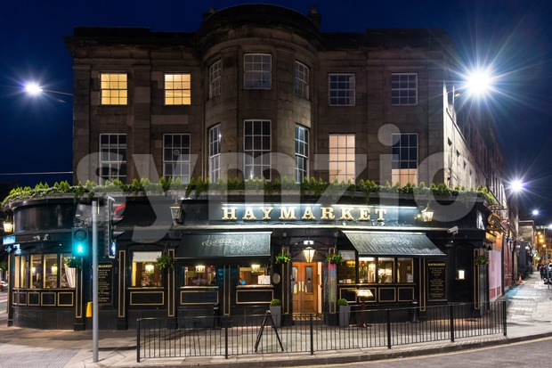 Haymarket Pub in Edinburgh at night Stock Photo
