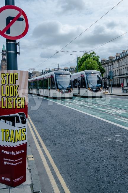 Launch of tram system in Edinburgh Stock Photo