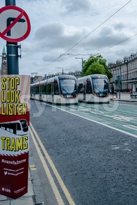 Launch of tram system in Edinburgh Stock Photo