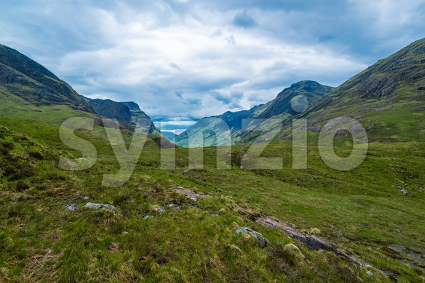 Glencoe or Glen Coe mountains and pass, panoramic view landscape in Lochaber, Scottish Higlands,Scotland. UK.