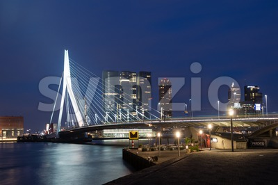 Erasmus Bridge in Rotterdam at night Stock Photo