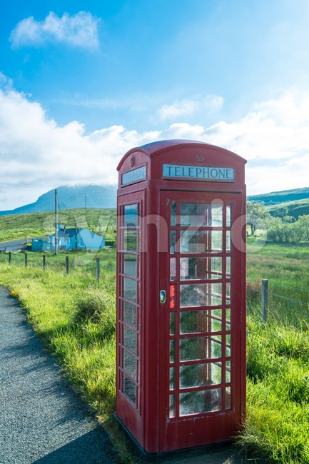 Ttraditional red telephone booth Stock Photo