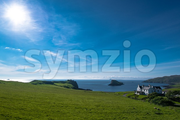 Beauftiful landscape and lonely house on the Isle of Skye in Scotland, Great Britain UK