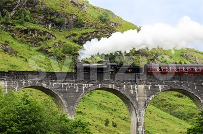 Steam train on Glenfinnan viaduct, known from Harry Potter Stock Photo