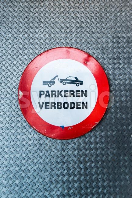 Dutch no parking sign Stock Photo