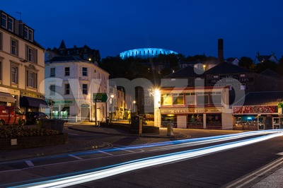 The small Scottish town of Oban at night Stock Photo