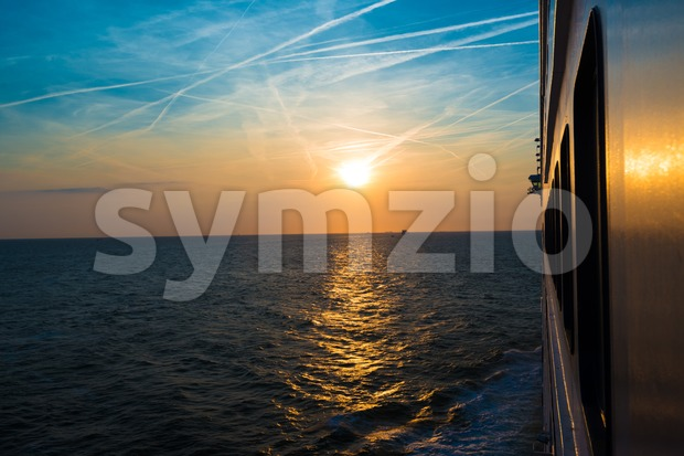 Sunset from a luxury cruise liner Stock Photo