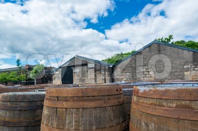 Whisky barrels at a Scottish distillery Stock Photo