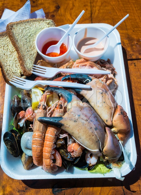 Mixed seafood plate Stock Photo