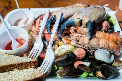 Mixed seafood plate and bread Stock Photo