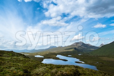 Knockan Crag in the schottish highlands Stock Photo