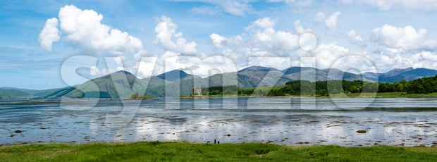 Panorama of Stalker Castle in Scotland Stock Photo