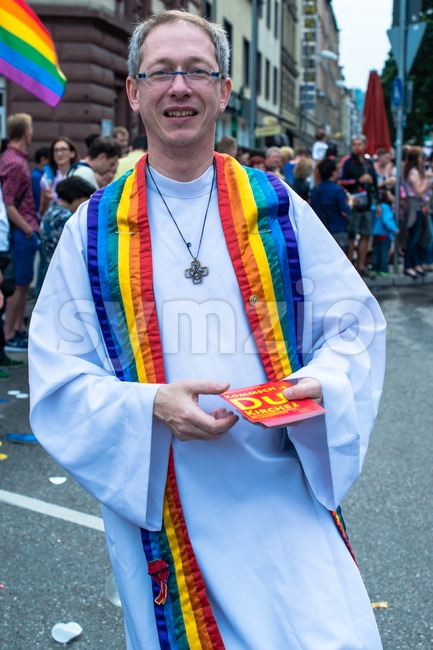 A pastor on Christopher Street Day 2014 in Stuttgart, Germany Stock Photo