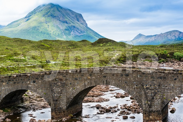Bridge on Sligachan with Cuillins Hills in the background, Scotland, United Kingdom