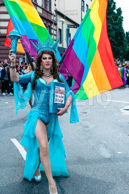 Statue of Liberty on Christopher Street Day 2014 in Stuttgart, Germany Stock Photo