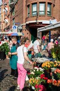 Florist at the old Fish Market by the harbor in Hamburg, Germany Stock Photo