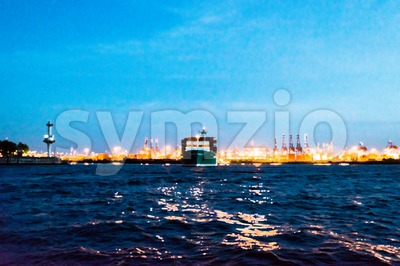 Abstract: Painting of a container ship leaving the harbor at night - photo processed with painting effect Stock Photo