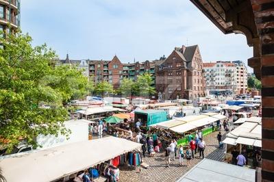 People enjoying Fish Market by the harbor in Hamburg, Germany Stock Photo
