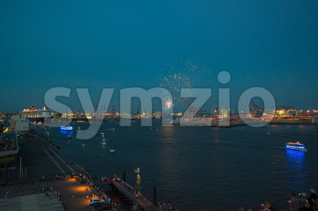 Queen Mary 2 - luxurious cruise liner - and fireworks Stock Photo