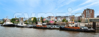 Famous Hafenstrasse in Hamburg as seen from the harbor Stock Photo
