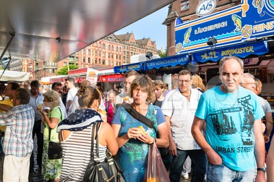 People enjoying Fish Market by the harbor in Hamburg, Germany Stock Photo