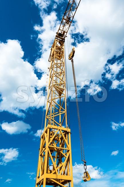 Yellow construction crane detail Stock Photo