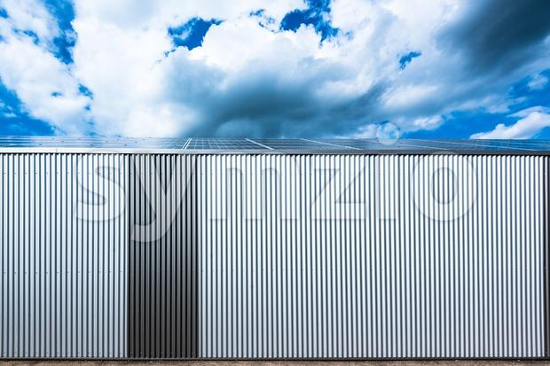 warehouse with solar panels Stock Photo
