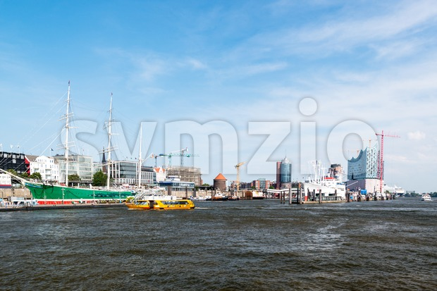 famous hamburg harbor Stock Photo
