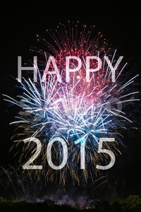 Happy New Year 2015 with fireworks Stock Photo