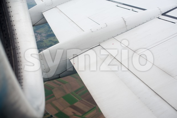 Airplane wing and turbine Stock Photo