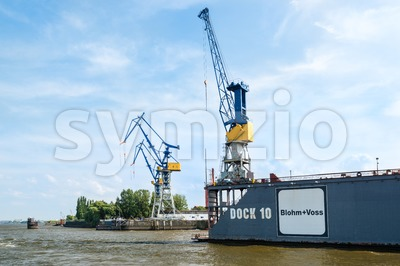 Famous Blohm And Voss Drydock in Hamburg, Germany Stock Photo