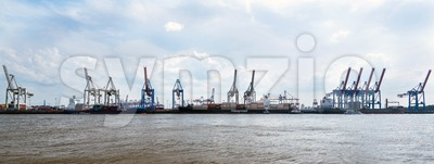 Container Terminal Burchardkai in the Port of Hamburg Stock Photo